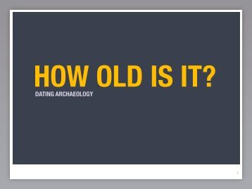 DATING ARCHAEOLOGY