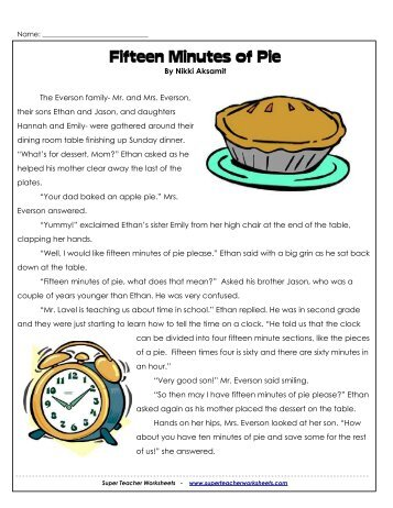 Fifteen Minutes of Pie - Super Teacher Worksheets