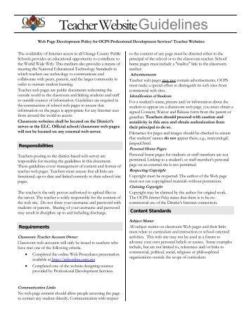 Teacher Website Guidelines - Orange County Public Schools