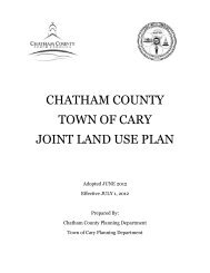 CHATHAM COUNTY TOWN OF CARY JOINT LAND USE PLAN