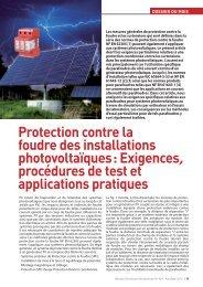 Protection contre la foudre des installations photovoltaïques - Fedelec