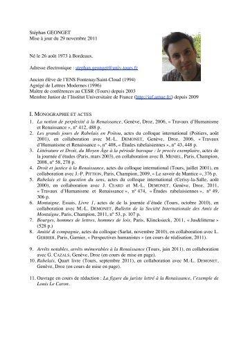 Curriculum Vitae - UMR 6576 - CESR
