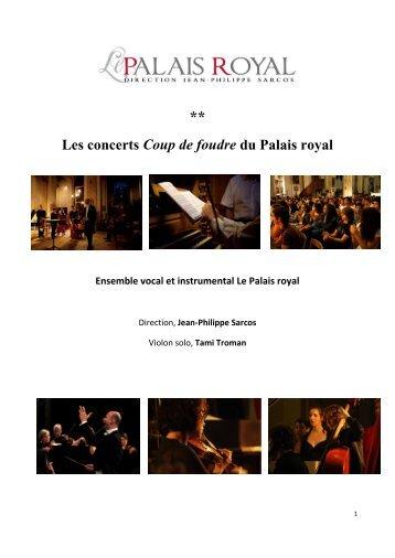 Les concerts Coup de foudre du Palais royal Ensemble vocal et ...