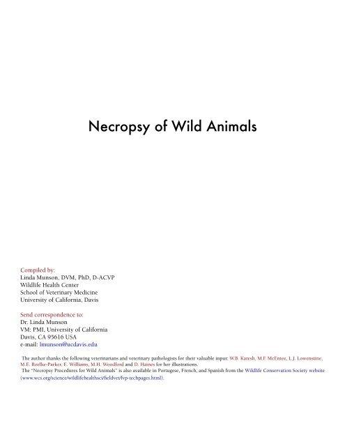 munson necropsy - UC Davis School of Veterinary Medicine