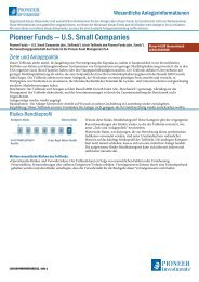 Vereinfachter Verkaufsprospekt - Pioneer Investments