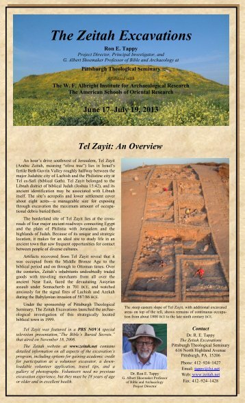 2013 Brochure - The Zeitah Excavations