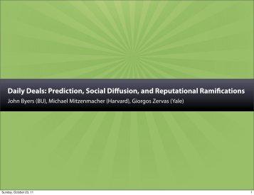 Daily Deals: Prediction, Social Diffusion, and Reputational ... - Zoo