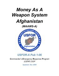 Money As A Weapon System Afghanistan - Public Intelligence