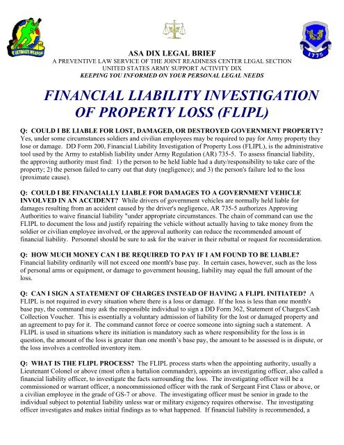FINANCIAL LIABILITY INVESTIGATION OF PROPERTY LOSS FLIPL