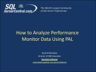 How to Analyze Performance Monitor Data Using ... - Brad M McGehee