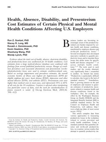 Health, Absence, Disability, and Presenteeism Cost Estimates of ...