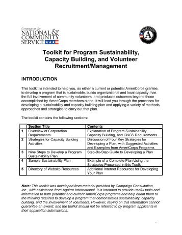 Toolkit for Program Sustainability, Capacity Building, and Volunteer ...