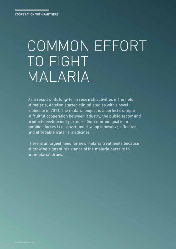 COMMON EFFORT TO FIGHT MALARIA. - Actelion Pharmaceuticals ...