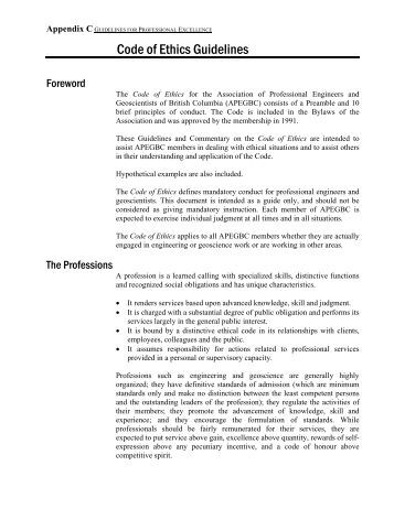 Code of Ethics Guidelines - APEGBC
