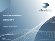 Investor Presentation October 2012 - Silver Lake Resources