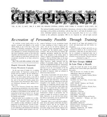 Grapevine, VOL. II, NO. 12, MAY, 1946, - Silkworth.net