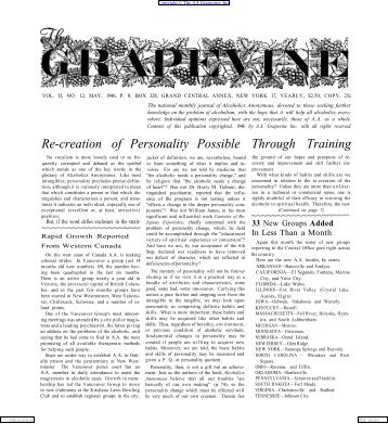 Grapevine, VOL. II, NO. 12, MAY, 1946, - Silkworth.net