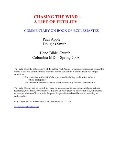 chasing the wind – a life of futility - Free sermon outlines