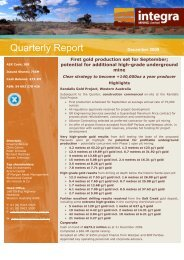 Quarterly Report - Integra Mining