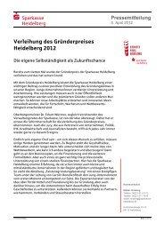 Verleihung des Gründerpreises Heidelberg 2012 - Sparkasse ...
