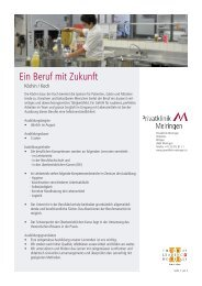 Ein Beruf mit Zukunft - Privatklinik Meiringen