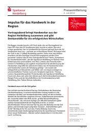 Impulse für das Handwerk in der Region - Sparkasse Heidelberg