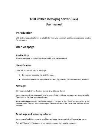 KFKI Unified Messaging Server (UMS)