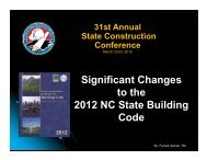 NC 2012 Building Code Changes - State Construction Office
