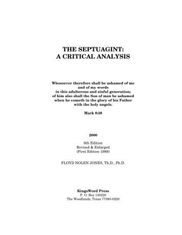 The Septuagint: A Critical Analysis - Christian Mission Connection