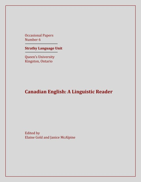 Canadian English A Linguistic Reader Queen S University