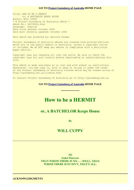 How to be a Hermit, by Will Cuppy - Modern Prepper