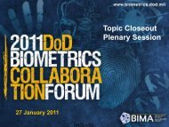 Topic Closeout Plenary Session - Biometrics Identity Management ...