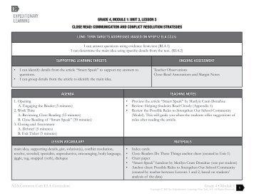 Grade 4, module 1: unit 3, lesson 3 - EngageNY