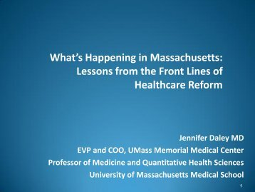 What's Happening in Massachusetts - Healthcare Collaboration