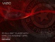 3D BLU-RAY™ PLAYER WITH WIRELESS INTERNET APPS - Vizio