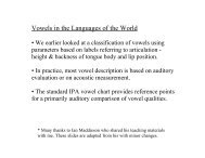 Vowels in the Languages of the World - Linguistics
