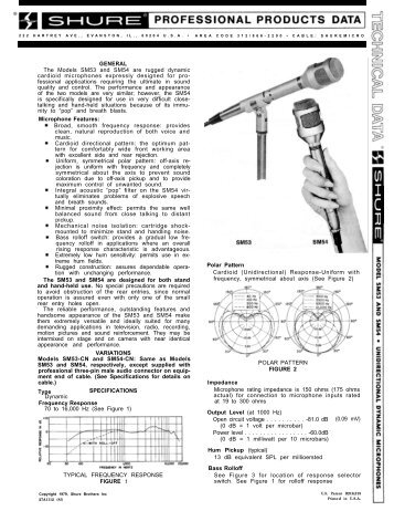 Sony C-74 and C-76 microphone specification sheet