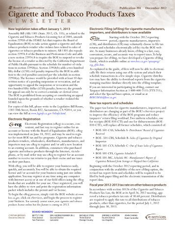 Cigarette and Tobacco Products Taxes Newsletter - California State ...