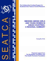 smoking among girls and young women in asean countries - SEATCA