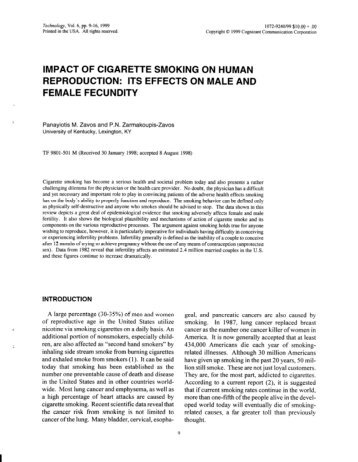 effects of smoking on reproduction Effects of smoking  a nicotine addiction can be overcome more than half of all canadians aged 15 years and older who have ever smoked have already quit.