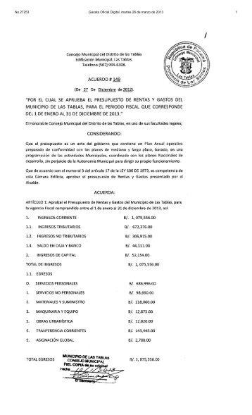 No 27253 Gaceta Oficial Digital, martes 26 de marzo de 2013 1