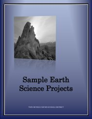 Sample Earth Science Projects - Twin Rivers Unified School District