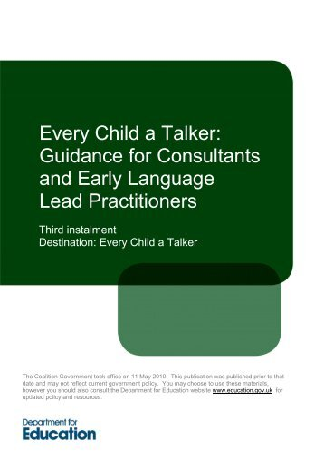 Free download of:Every Child a Talker - Department for Education