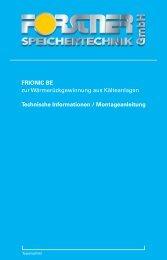 Montageanleitung FRIONIC - Forstner Speichertechnik GmbH