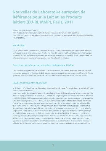 Nouvelles du Laboratoire européen de Référence pour le ... - FAVV