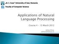 Applications of Natural Language Processing - Profs.info.uaic.ro