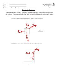 Free Body Diagrams For each situation, draw a free body ... - the Vault