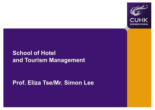 School of Hotel and Tourism Management - CUHK Business School ...