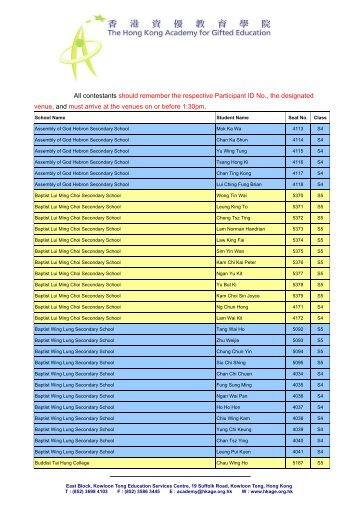 School List of Accepted Students - The Hong Kong Academy for ...