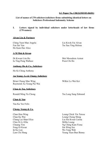 LC Paper No. CB(2)2303/03-04(01) List of names of 270 solicitors ...